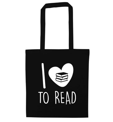 I love to read black tote bag