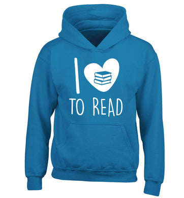 I love to read children's blue hoodie 12-13 Years