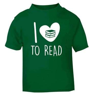 I love to read green Baby Toddler Tshirt 2 Years