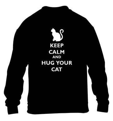 Keep calm and hug your cat children's black sweater 12-13 Years