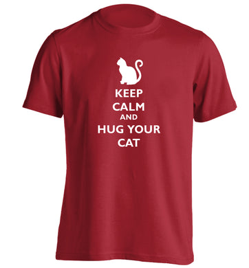 Keep calm and hug your cat adults unisex red Tshirt 2XL