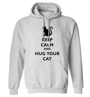 Keep calm and hug your cat adults unisex grey hoodie 2XL