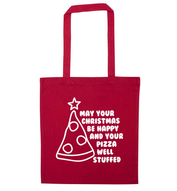 May your Christmas be happy and your pizza well stuffed red tote bag