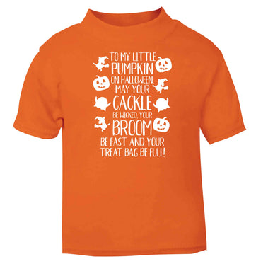 To my Little Pumpkin orange baby toddler Tshirt 2 Years