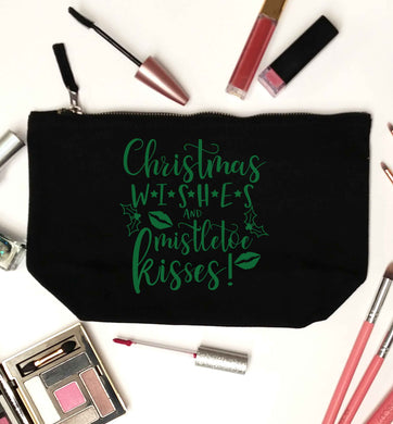 Christmas wishes and mistletoe kisses black makeup bag