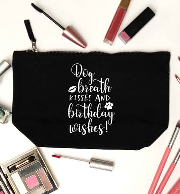 Dog breath kisses and christmas wishes black makeup bag