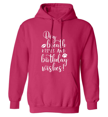 Dog breath kisses and christmas wishes adults unisex pink hoodie 2XL