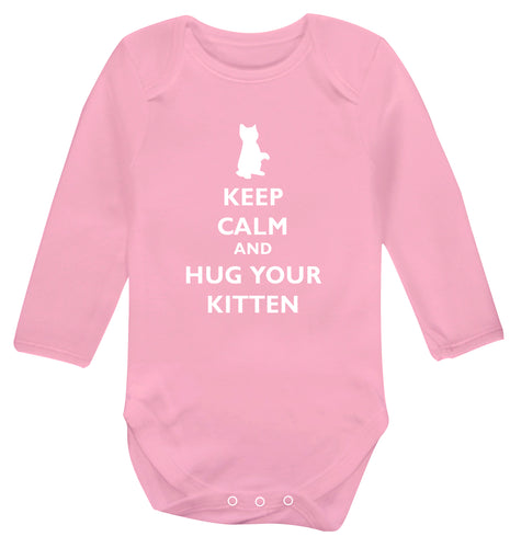 Keep calm and hug your kitten Baby Vest long sleeved pale pink 6-12 months