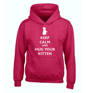 Keep calm and hug your kitten children's pink hoodie 12-13 Years