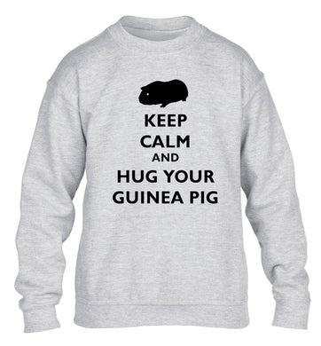 Keep calm and hug your guineapig children's grey sweater 12-13 Years