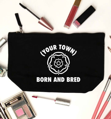 Personalised born and bred black makeup bag