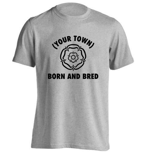 Personalised born and bred adults unisex grey Tshirt 2XL