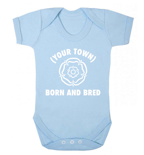 Personalised born and bred Baby Vest pale blue 18-24 months