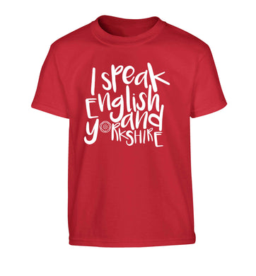 I speak English and Yorkshire Children's red Tshirt 12-13 Years