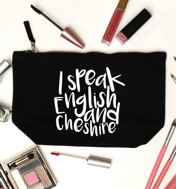 I speak English and Cheshire black makeup bag