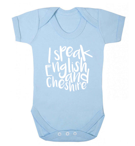 I speak English and Cheshire Baby Vest pale blue 18-24 months