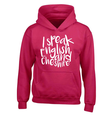 I speak English and Cheshire children's pink hoodie 12-13 Years