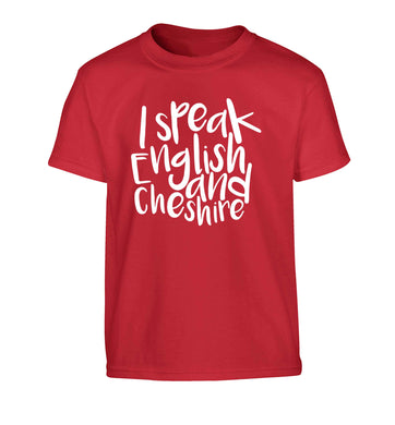 I speak English and Cheshire Children's red Tshirt 12-13 Years