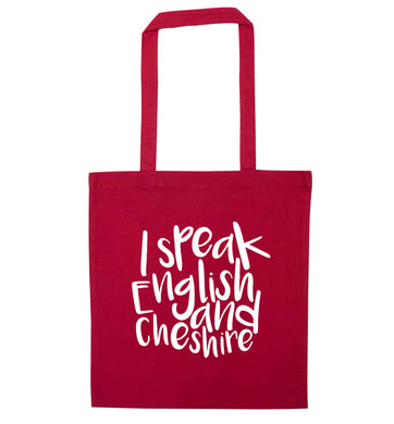 I speak English and Cheshire red tote bag