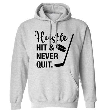 Hustle hit and never quit adults unisex grey hoodie 2XL