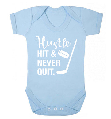 Hustle hit and never quit Baby Vest pale blue 18-24 months