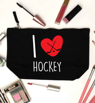 I love hockey black makeup bag