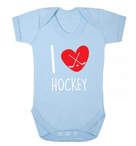 I love hockey Baby Vest pale blue 18-24 months