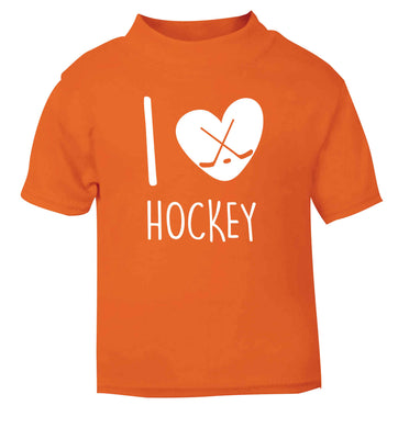 I love hockey orange Baby Toddler Tshirt 2 Years