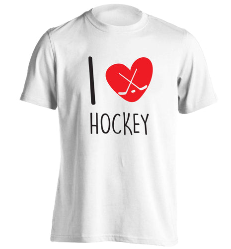 I love hockey adults unisex white Tshirt 2XL