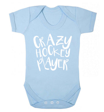 Crazy hockey player Baby Vest pale blue 18-24 months