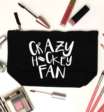 Crazy hockey fan black makeup bag