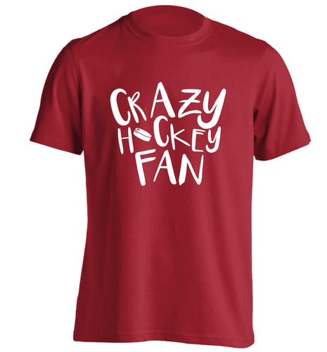 Crazy hockey fan adults unisex red Tshirt 2XL