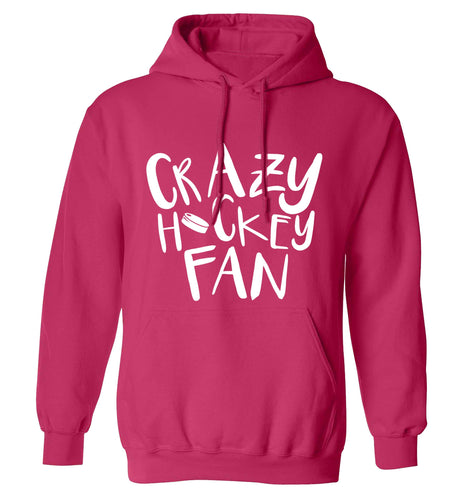 Crazy hockey fan adults unisex pink hoodie 2XL