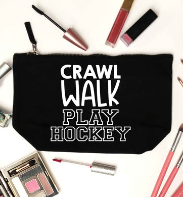 Crawl walk play hockey black makeup bag