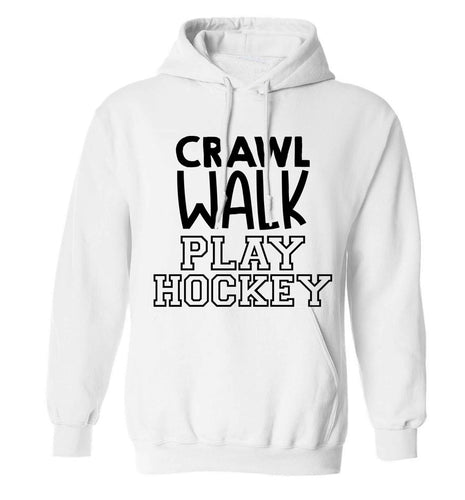 Crawl walk play hockey adults unisex white hoodie 2XL