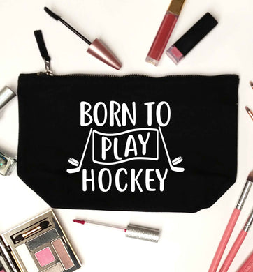 Born to play hockey black makeup bag