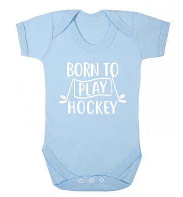 Born to play hockey Baby Vest pale blue 18-24 months