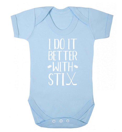 I do it better with stix (hockey) Baby Vest pale blue 18-24 months