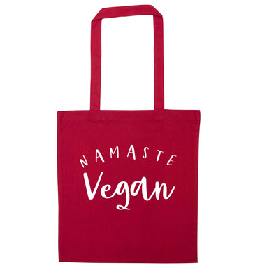 Namaste vegan red tote bag
