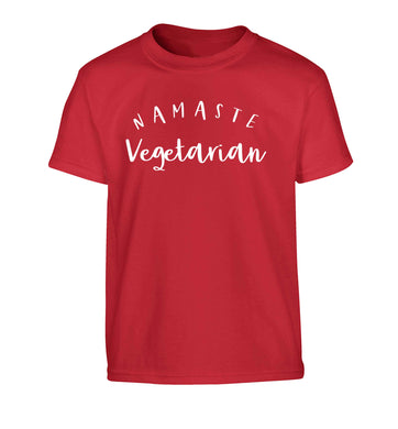Namaste vegetarian Children's red Tshirt 12-13 Years
