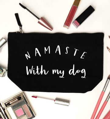 Namaste with my dog black makeup bag