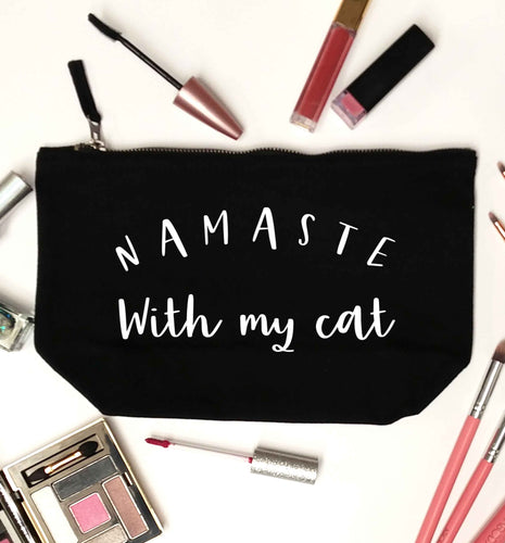 Namaste with my cat black makeup bag