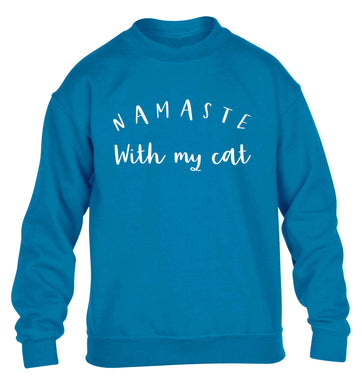 Namaste with my cat children's blue sweater 12-13 Years