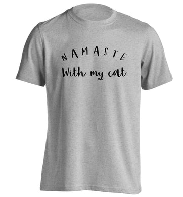 Namaste with my cat adults unisex grey Tshirt 2XL