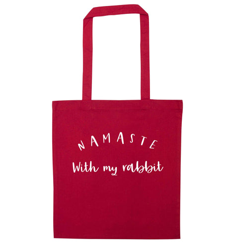 Namaste with my rabbit red tote bag