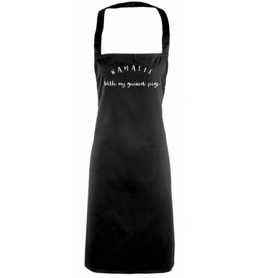 Namaste with my guinea pigs black apron