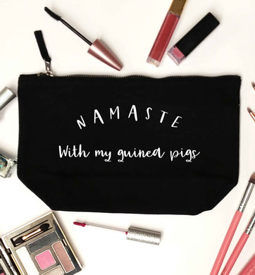 Namaste with my guinea pigs black makeup bag