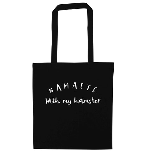 Namaste with my hamster black tote bag