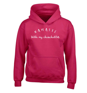 Namaste with my chinchilla children's pink hoodie 12-13 Years