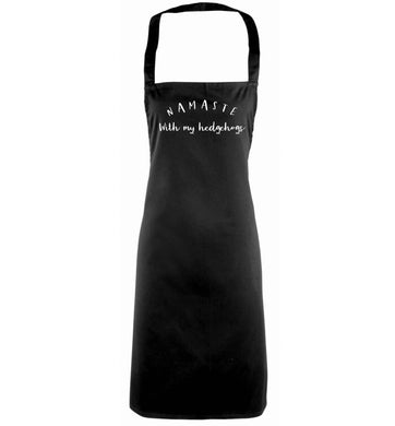 Namaste with my hedgehog black apron